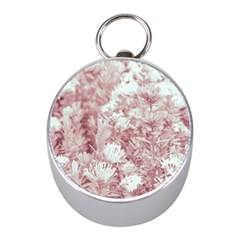 Pink Colored Flowers Mini Silver Compasses