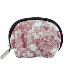 Pink Colored Flowers Accessory Pouches (small)