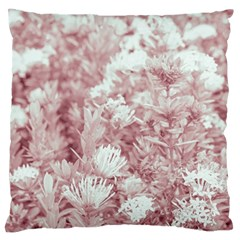 Pink Colored Flowers Large Flano Cushion Case (two Sides)