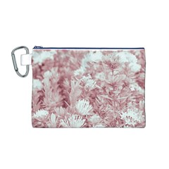 Pink Colored Flowers Canvas Cosmetic Bag (m)