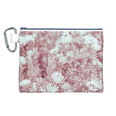 Pink Colored Flowers Canvas Cosmetic Bag (l)