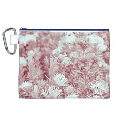 Pink Colored Flowers Canvas Cosmetic Bag (xl)