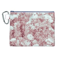 Pink Colored Flowers Canvas Cosmetic Bag (xxl)