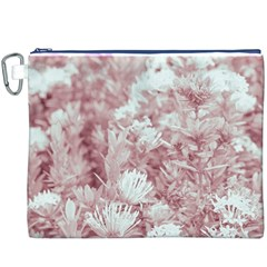 Pink Colored Flowers Canvas Cosmetic Bag (xxxl)