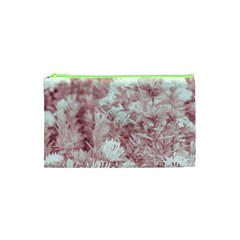 Pink Colored Flowers Cosmetic Bag (xs)