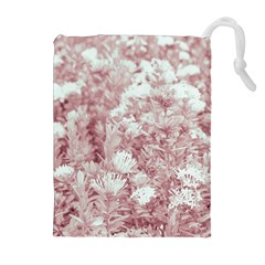 Pink Colored Flowers Drawstring Pouches (extra Large)