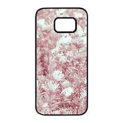 Pink Colored Flowers Samsung Galaxy S7 Edge Black Seamless Case