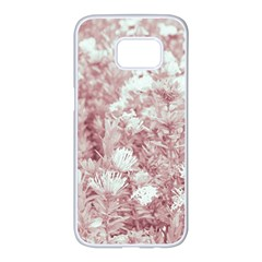 Pink Colored Flowers Samsung Galaxy S7 Edge White Seamless Case