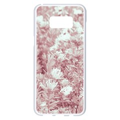 Pink Colored Flowers Samsung Galaxy S8 Plus White Seamless Case