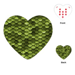 Green Mermaid Scales   Playing Cards (heart)