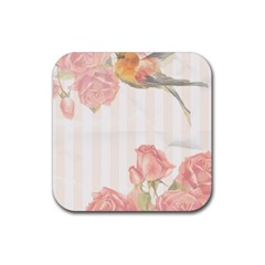 Vintage Roses Floral Illustration Bird Rubber Coaster (square)