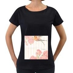 Vintage Roses Floral Illustration Bird Women s Loose Fit T Shirt (black)