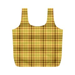 Plaid Yellow Fabric Texture Pattern Full Print Recycle Bags (m)