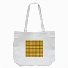 Plaid Yellow Fabric Texture Pattern Tote Bag (white)