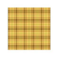 Plaid Yellow Fabric Texture Pattern Small Satin Scarf (square)