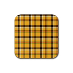 Yellow Fabric Plaided Texture Pattern Rubber Coaster (square)