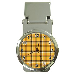 Yellow Fabric Plaided Texture Pattern Money Clip Watches