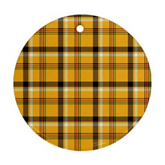 Yellow Fabric Plaided Texture Pattern Round Ornament (two Sides)