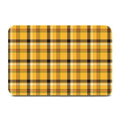 Yellow Fabric Plaided Texture Pattern Plate Mats