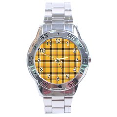 Yellow Fabric Plaided Texture Pattern Stainless Steel Analogue Watch