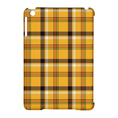 Yellow Fabric Plaided Texture Pattern Apple Ipad Mini Hardshell Case (compatible With Smart Cover)