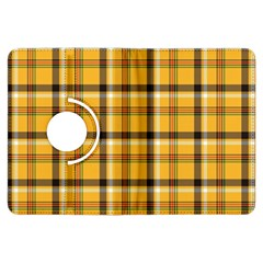 Yellow Fabric Plaided Texture Pattern Kindle Fire Hdx Flip 360 Case