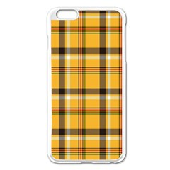 Yellow Fabric Plaided Texture Pattern Apple Iphone 6 Plus/6s Plus Enamel White Case