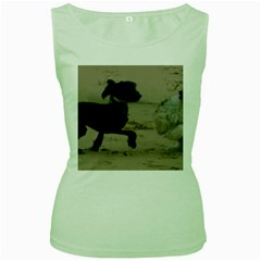 2 Chinese Crested Playing Women s Green Tank Top