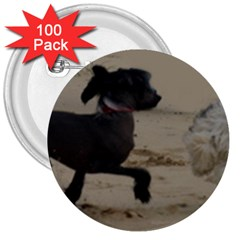 2 Chinese Crested Playing 3  Buttons (100 Pack)