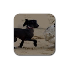 2 Chinese Crested Playing Rubber Coaster (square)