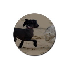 2 Chinese Crested Playing Rubber Coaster (round)