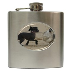 2 Chinese Crested Playing Hip Flask (6 Oz)