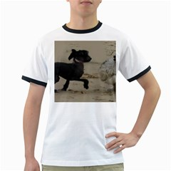 2 Chinese Crested Playing Ringer T Shirts