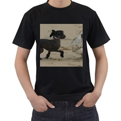 2 Chinese Crested Playing Men s T Shirt (black) (two Sided)