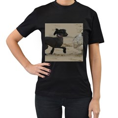 2 Chinese Crested Playing Women s T Shirt (black) (two Sided)