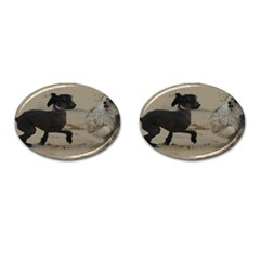 2 Chinese Crested Playing Cufflinks (oval)