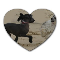 2 Chinese Crested Playing Heart Mousepads