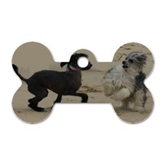 2 Chinese Crested Playing Dog Tag Bone (two Sides)