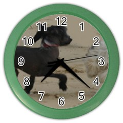 2 Chinese Crested Playing Color Wall Clocks