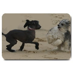 2 Chinese Crested Playing Large Doormat
