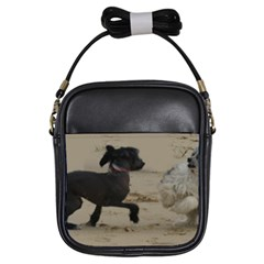 2 Chinese Crested Playing Girls Sling Bags