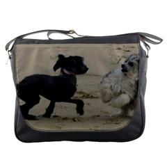2 Chinese Crested Playing Messenger Bags