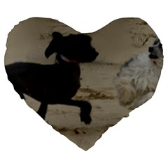 2 Chinese Crested Playing Large 19  Premium Heart Shape Cushions