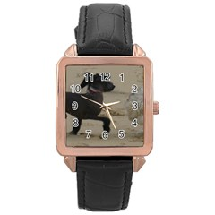 2 Chinese Crested Playing Rose Gold Leather Watch