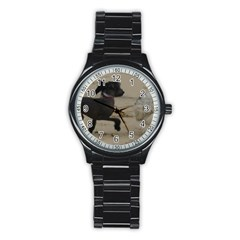 2 Chinese Crested Playing Stainless Steel Round Watch