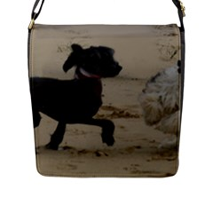 2 Chinese Crested Playing Flap Messenger Bag (l)