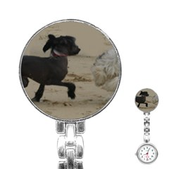 2 Chinese Crested Playing Stainless Steel Nurses Watch
