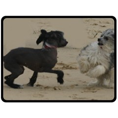 2 Chinese Crested Playing Double Sided Fleece Blanket (large)
