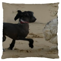 2 Chinese Crested Playing Large Flano Cushion Case (one Side)