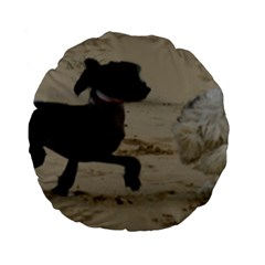 2 Chinese Crested Playing Standard 15  Premium Flano Round Cushions